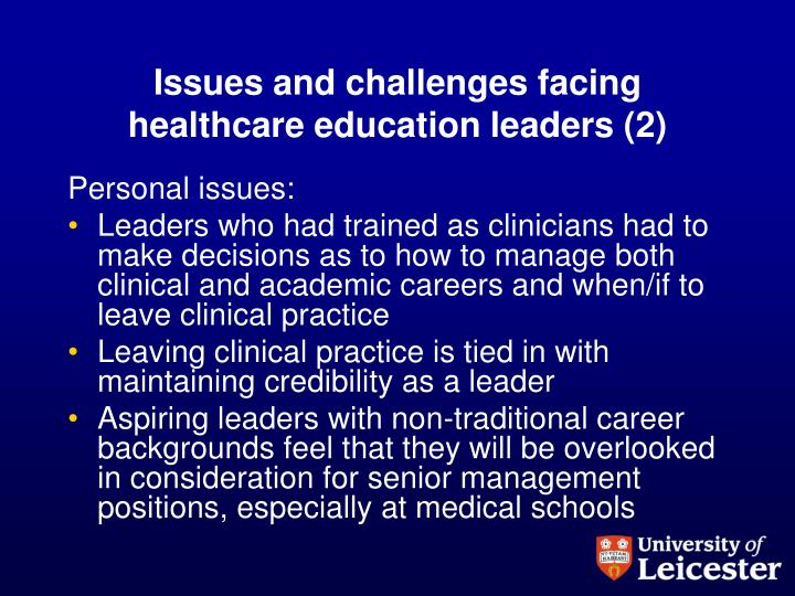 Issues and challenges facing healthcare education leaders (2)