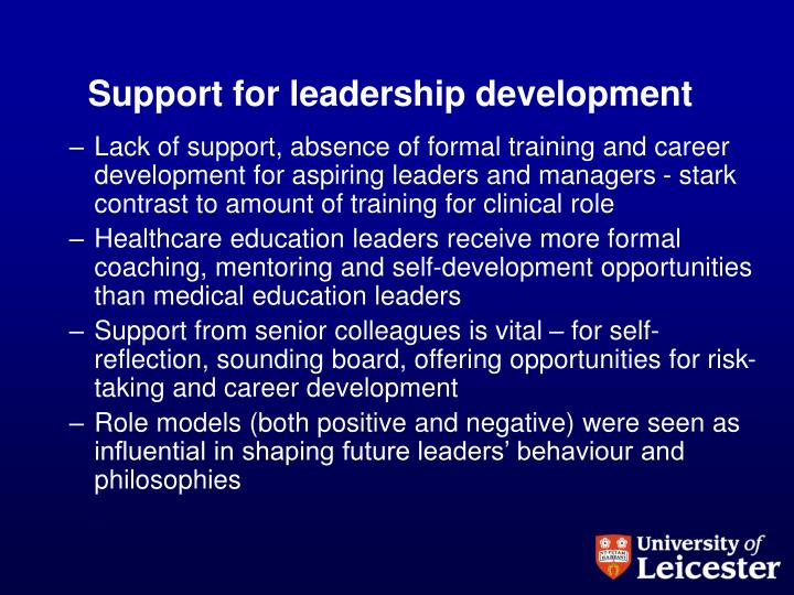 Support for leadership development