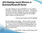 2010 baldrige award winners in business nonprofit sector