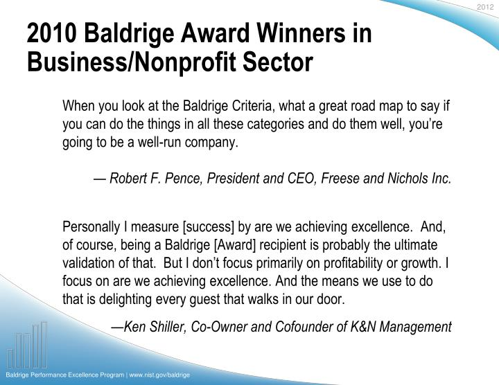 2010 Baldrige Award Winners in Business/Nonprofit Sector