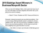 2010 baldrige award winners in business nonprofit sector2