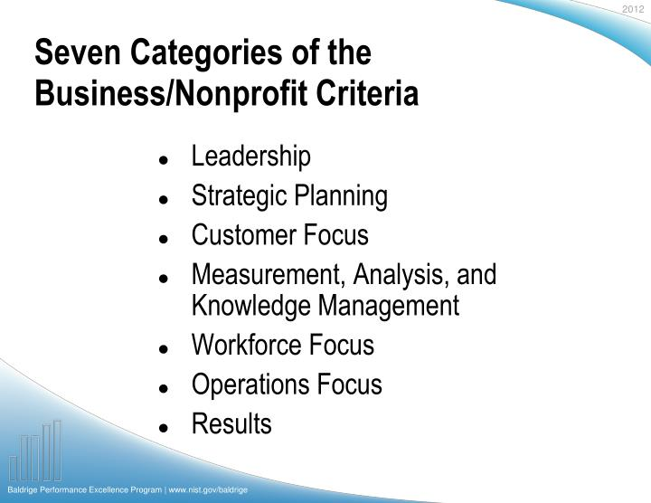 Seven categories of the business nonprofit criteria