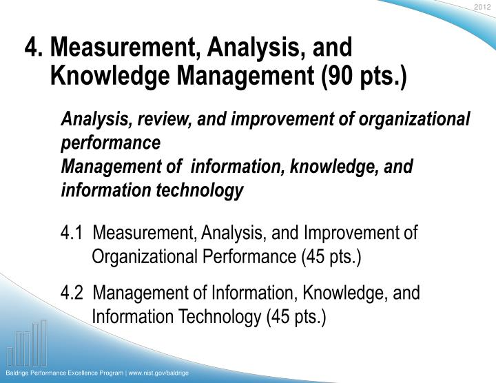 4. Measurement, Analysis, and Knowledge Management (90 pts.)