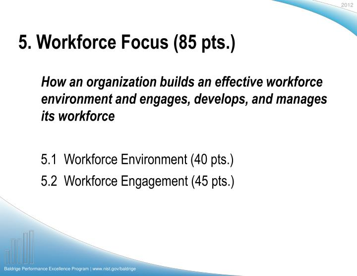 5. Workforce Focus (85 pts.)