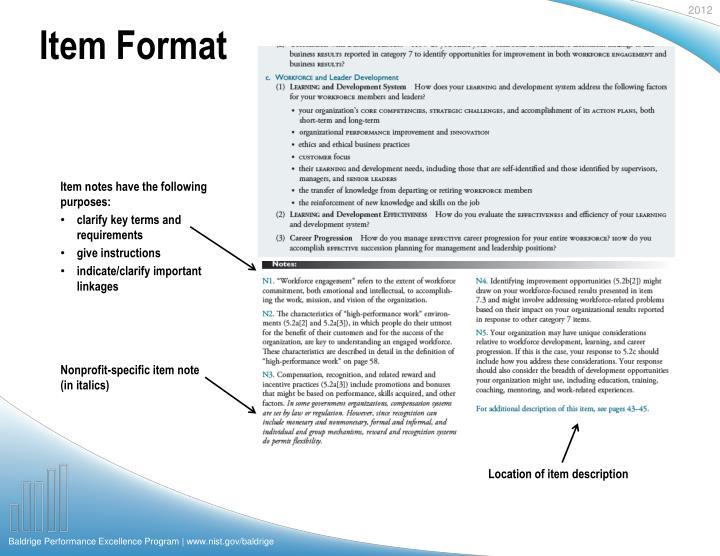 Item Format
