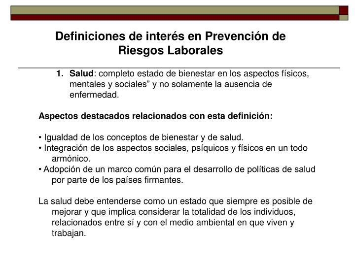 Definiciones de interés en Prevención de Riesgos Laborales