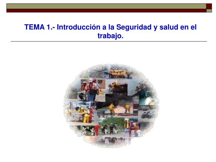 TEMA 1.- Introducción a la Seguridad y salud en el trabajo.
