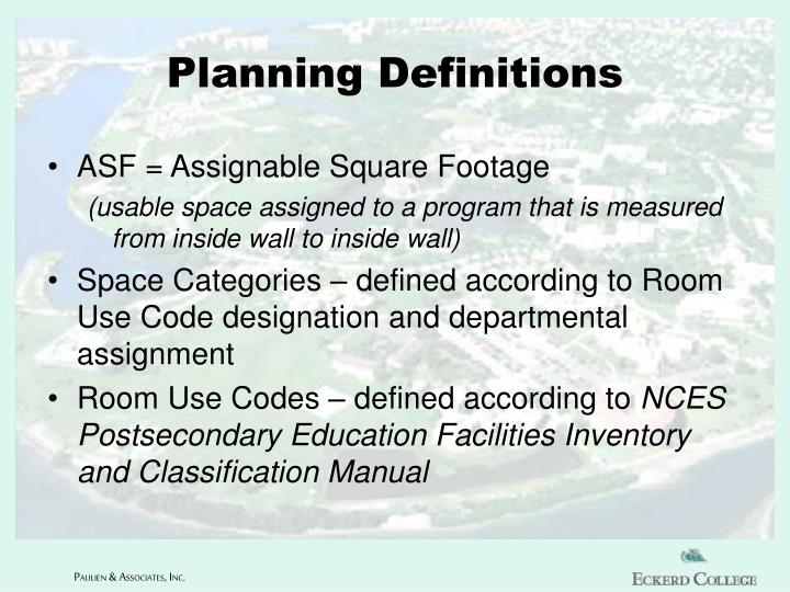 Planning Definitions