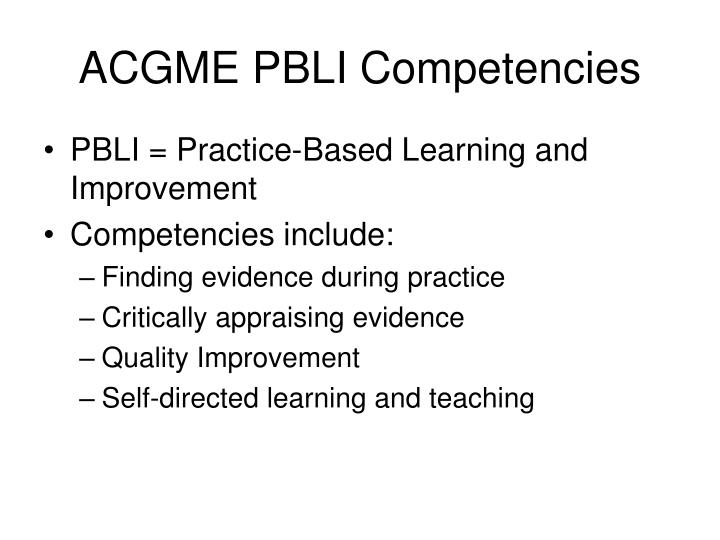 ACGME PBLI Competencies