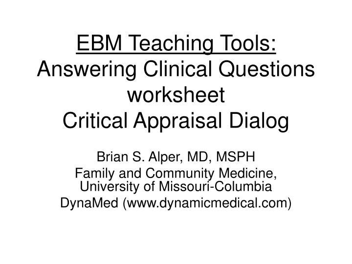 EBM Teaching Tools: