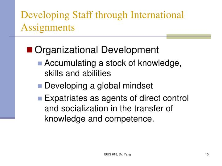 Developing Staff through International Assignments