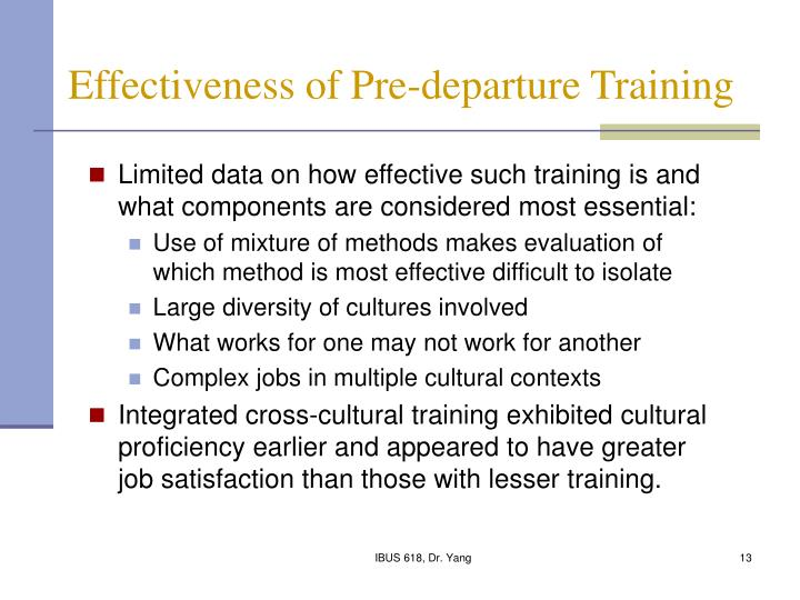 Effectiveness of Pre-departure Training