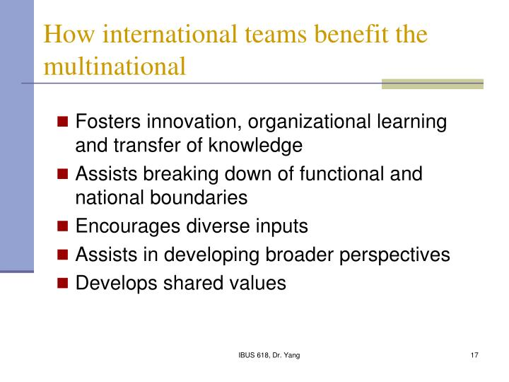 How international teams benefit the multinational