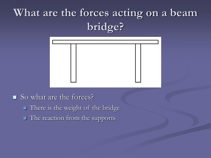 What are the forces acting on a beam bridge?