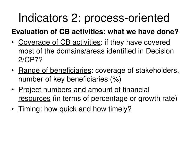 Indicators 2: process-oriented