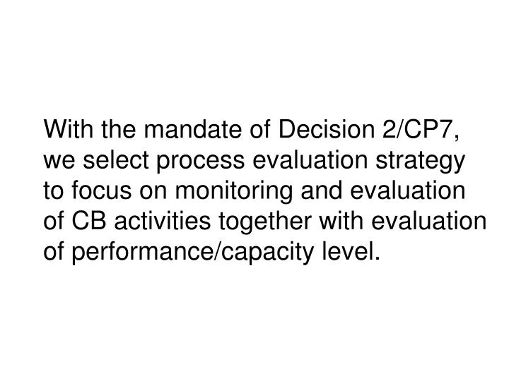 With the mandate of Decision 2/CP7,