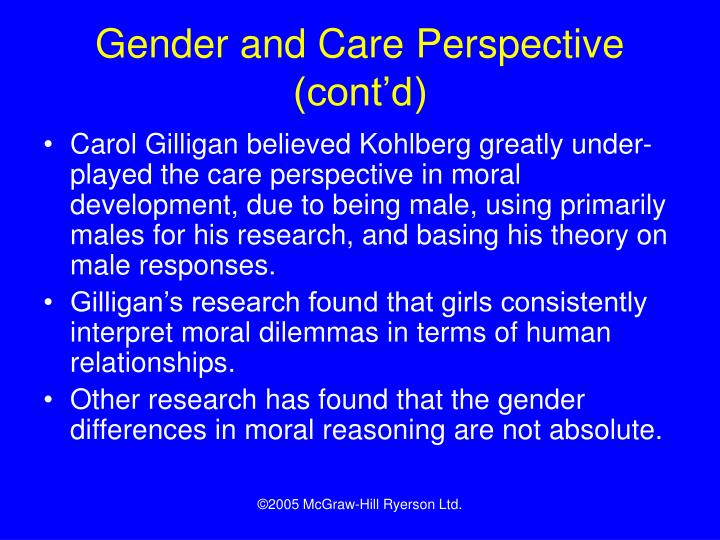 Gender and Care Perspective (cont'd)