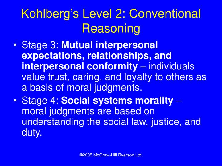 Kohlberg's Level 2: Conventional Reasoning