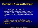 definition of a lab quality system