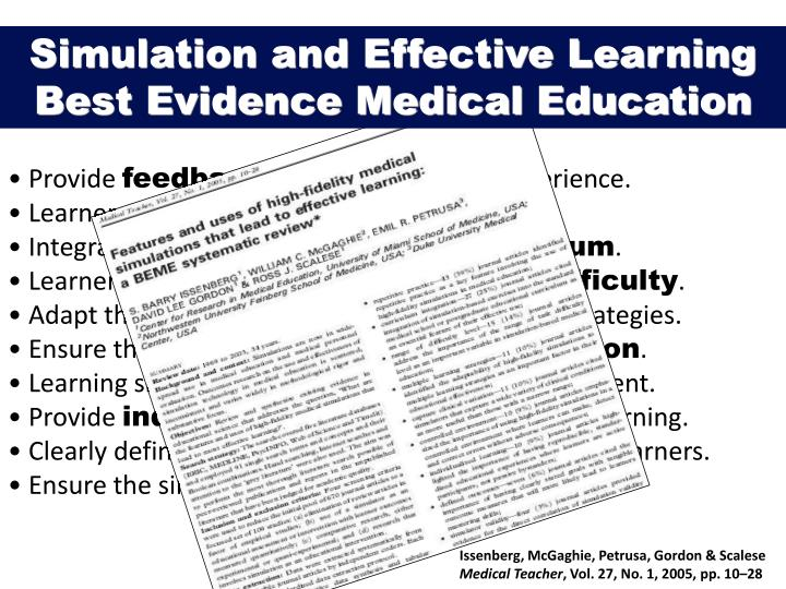 Simulation and Effective Learning