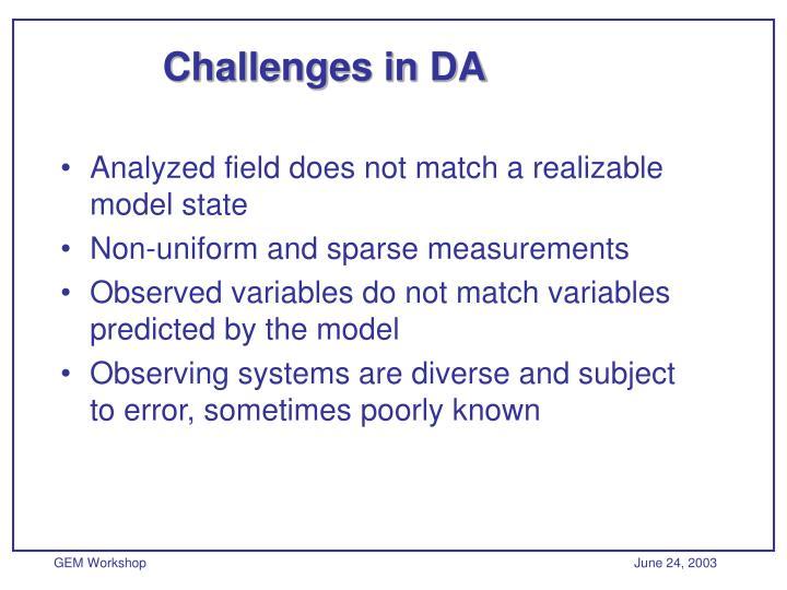 Challenges in DA