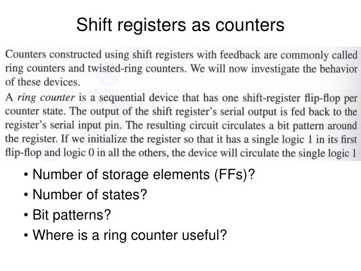 Shift registers as counters