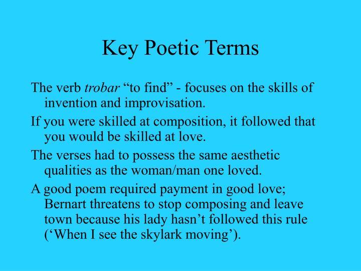 Key Poetic Terms