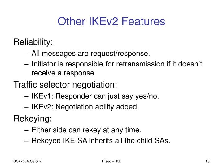 Other IKEv2 Features