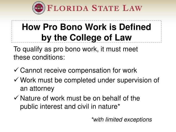 How Pro Bono Work is Defined