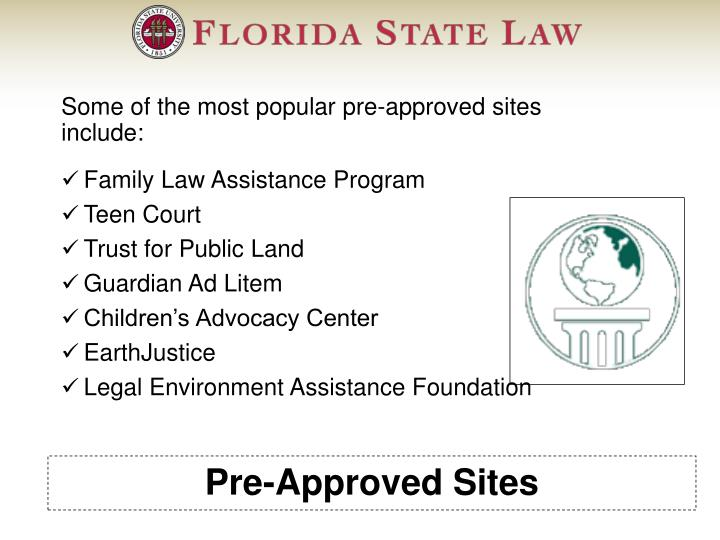 Pre-Approved Sites