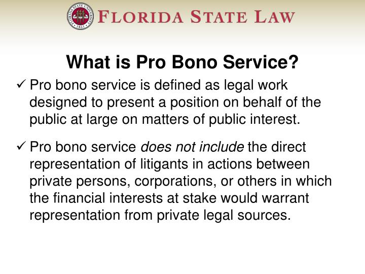 What is Pro Bono Service?