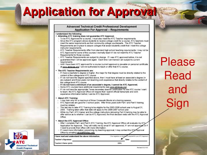 Application for Approval