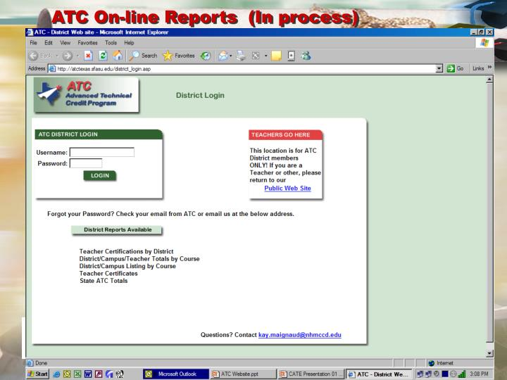 ATC On-line Reports  (In process)