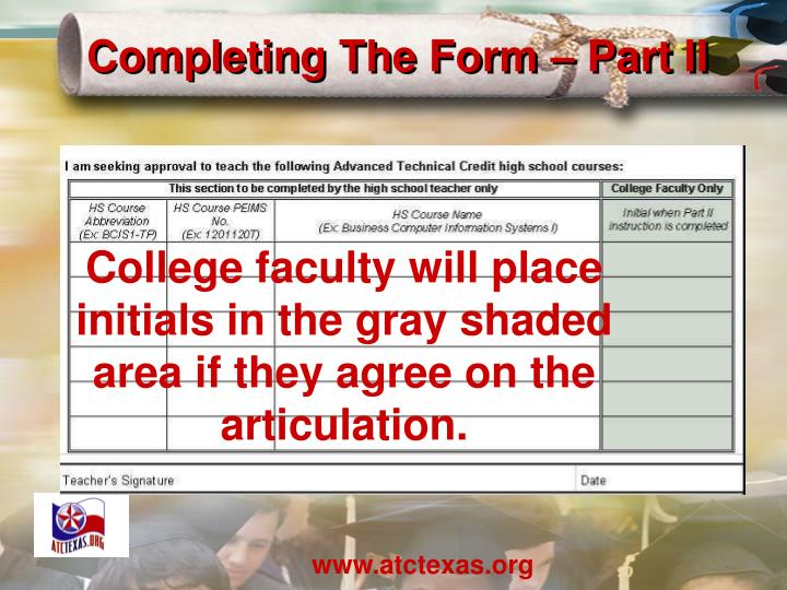 Completing The Form – Part II