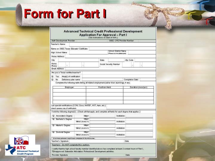 Form for Part I