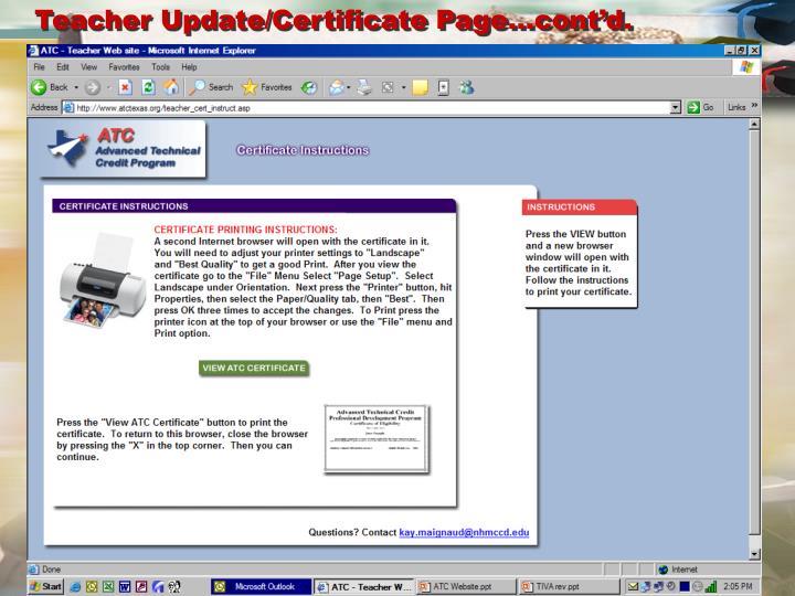 Teacher Update/Certificate Page…cont'd.