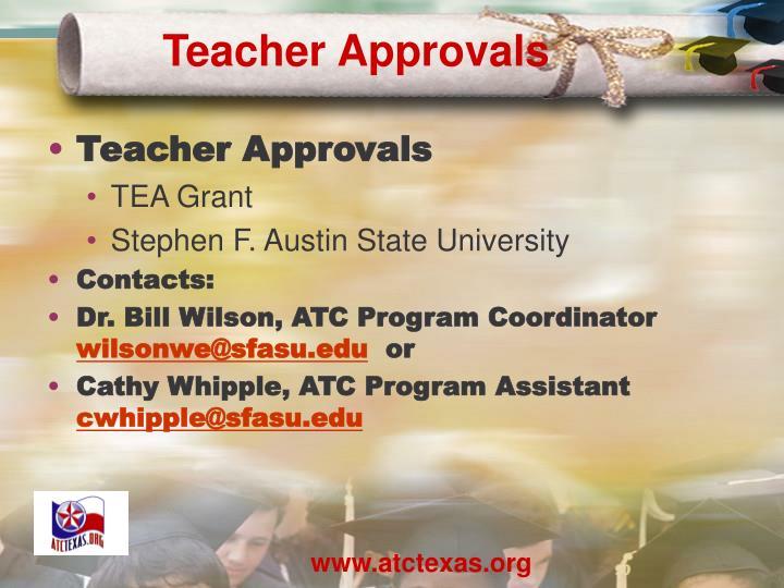 Teacher Approvals