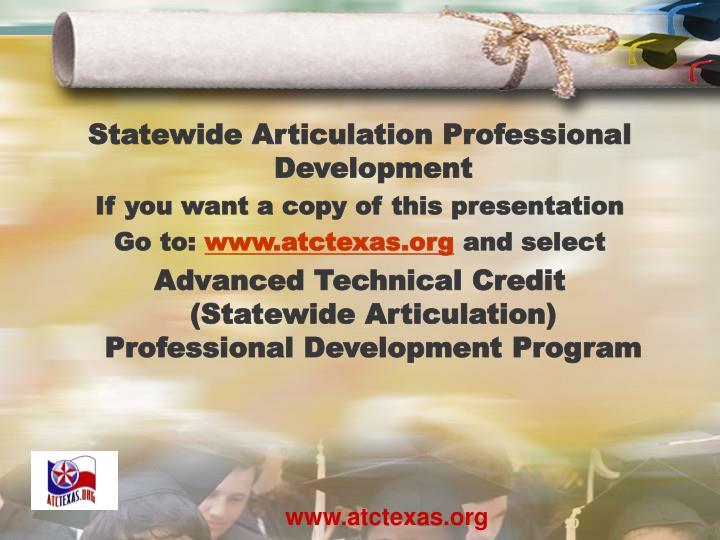 Statewide Articulation Professional Development
