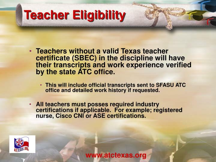 Teacher Eligibility