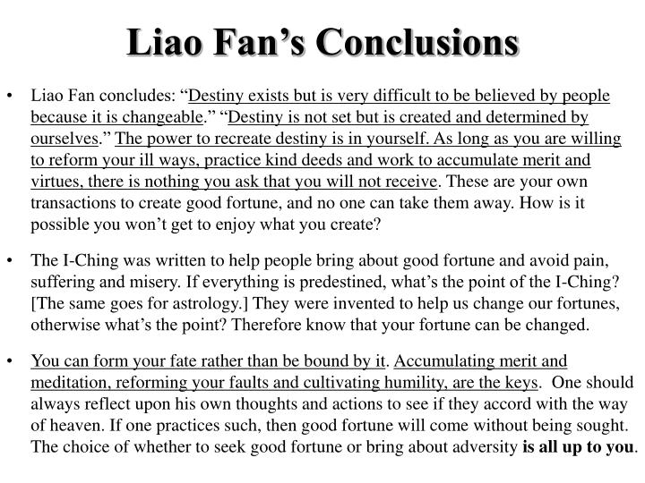 Liao Fan's Conclusions