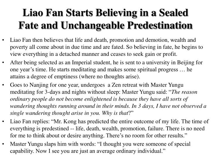 Liao Fan Starts Believing in a Sealed Fate and Unchangeable Predestination