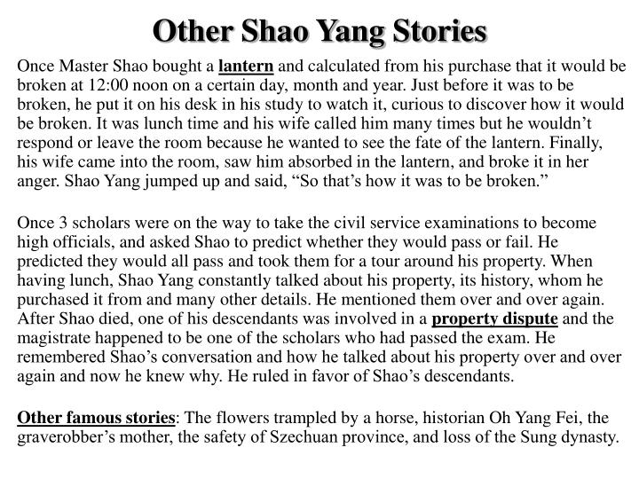 Other Shao Yang Stories