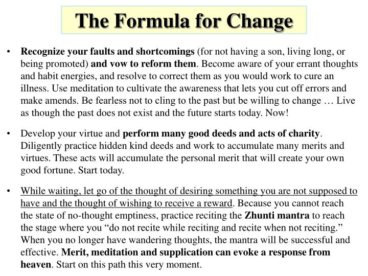The Formula for Change