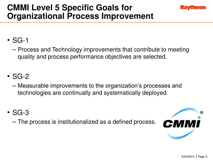 CMMI Level 5 Specific Goals for Organizational Process Improvement