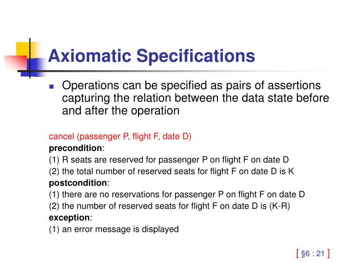 Axiomatic Specifications