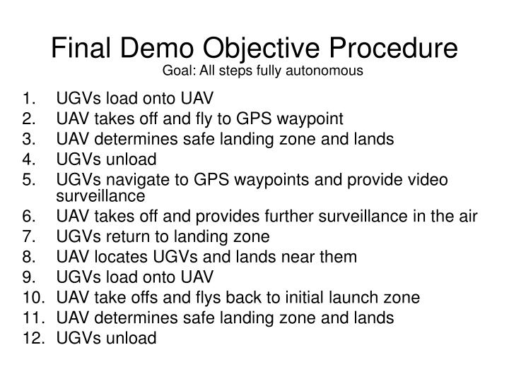 Final Demo Objective Procedure