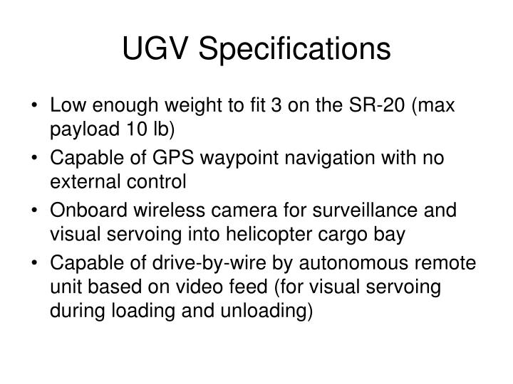 UGV Specifications