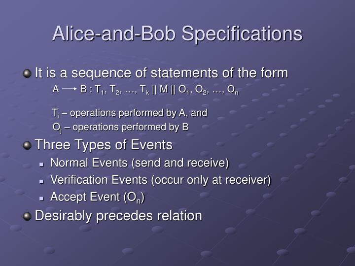 Alice-and-Bob Specifications