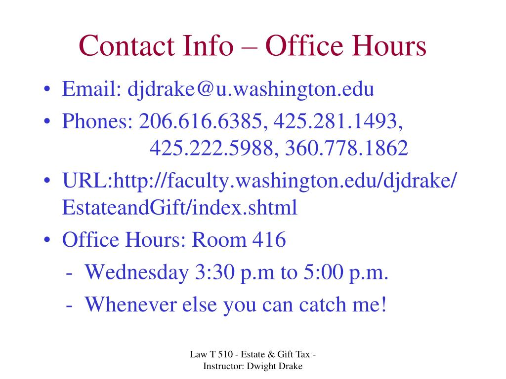 Contact Info – Office Hours