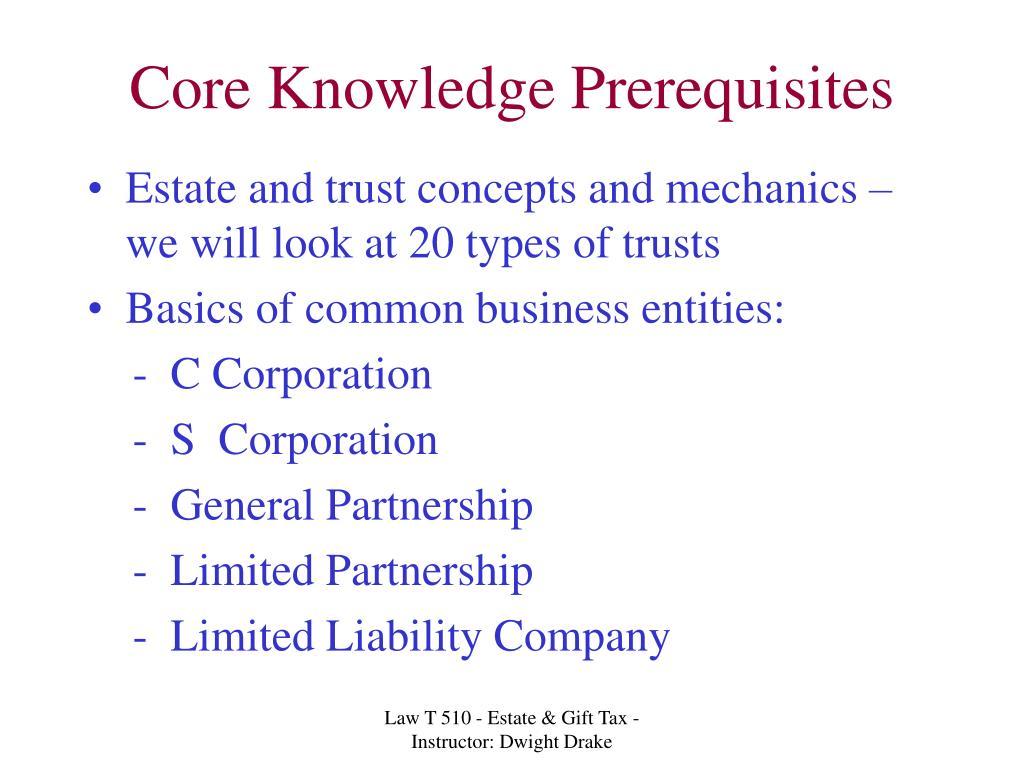 Core Knowledge Prerequisites